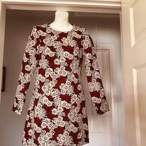 Zara Red & White Daisy Long Sleeve Dress
